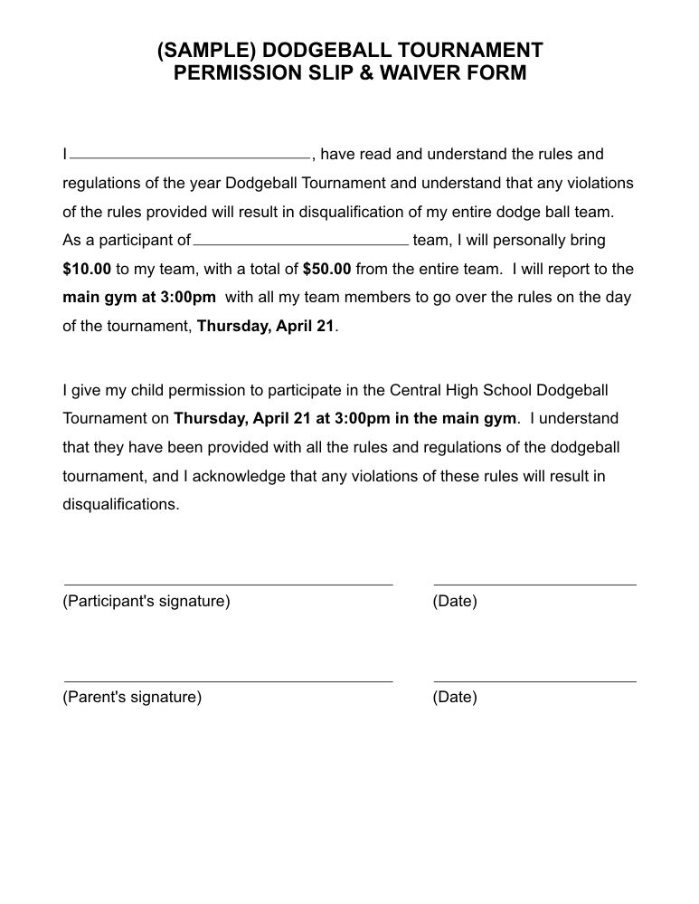 Examples Of Permission Slips  Permission Slip Template Word